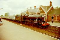 Stanier 2-8-0 48151 on a Cumbrian Mountain Express stopping at Appleby in the early 90's<br><br>[Gordon Steel&nbsp;//]