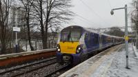 334 027 in a sudden snow shower at Dalreoch forming the 10.09 to Edinburgh.<br><br>[Beth Crawford&nbsp;19/01/2018]