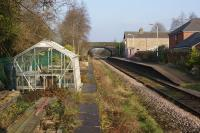 A new structure appeared on the disused former northbound platform during the second half of 2017, a greenhouse. Donated by a village resident to the Friends of Croston Station volunteers who maintain the flowerbeds and vegetable patch. Trains on the Ormskirk line will move from a ninety minute interval to an hourly service from May 2018.<br><br>[John McIntyre&nbsp;14/01/2018]
