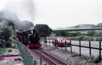 Festiniog Railway 0-4-0STT <I>Linda</I> sets out on the climb from Boston Lodge in 1982. Alongside in the lay-by is my never forgotten 1976 Vauxhall Cavalier Coupe. <br><br>[Mark Bartlett&nbsp;//1982]