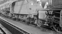 The scene inside Lostock Hall steam shed during a visit on 25 September 1960. Stabled centre stage is Stanier 2-6-0 42960. [Ref query 18 January 2018]<br><br>[K A Gray&nbsp;25/09/1960]
