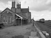 Belford Station looking north, with a HST passing in 1987. There is a campaign to reopen the station, which closed on 29th January 1968.<br> <br> <br> <br><br>[Bill Roberton&nbsp;//1987]