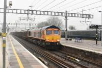 GBRf 66753 <I>EMD Roberts Road</I>, westbound at speed through Platform 3 at Didcot on 20th January 2018 heading for Cardiff.<br> <br> <br><br>[Peter Todd 20/01/2018]