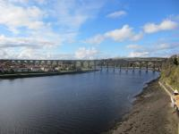 Royal Border Bridge at low tide on a lovely sunny day in October 2014.<br><br>[Gordon Steel&nbsp;14/10/2014]
