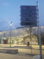 Walking and cycling route signs outside the new Cambridge North station. 7th December 2017.<br> <br><br>[John Yellowlees&nbsp;07/12/2017]