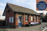 The ticket office at St Annes on 24th January 2018, the last week of rail replacement bus services before reopening to Blackpool South and Preston. The blue plaque records a little known piece of local railway history. <br> <br> <br><br>[Mark Bartlett&nbsp;24/01/2018]