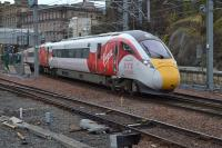 Azuma leaving Platform 2 with the return test run to Doncaster Carr on 30th January 2018.<br><br>[Bill Roberton&nbsp;30/01/2018]