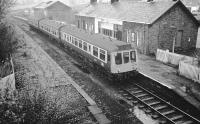 Derby DMU 107429 at Kilmacolm a few days before closure of the line in January 1983.<br><br>[Ian Millar&nbsp;07/01/1983]