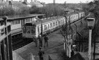 Kilmacolm bound DMU 107439 at Corkerhill a few days before closure of the line. Closure was as and from 10th January 1983, a Monday, so the last train ran on Saturday 8th January. <br><br>[Ian Millar 10/01/1983]