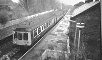 Derby 3-car DMU 107429 at kilmacolm a few days before closure of the line in January 1983.<br><br>[Ian Millar&nbsp;07/01/1983]