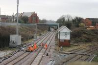Poulton No.3 box had still not been demolished when this photo was taken on 10th February 2018. In this view towards Blackpool an infrastructure train can be seen just beyond the bridge while work continues in the foreground. Postscript: The box was demolished ten days after this image was taken. <br><br>[Mark Bartlett&nbsp;10/02/2018]