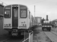 Ayr Open Day, 29 October 1983. Then new 314211 is on display, with <I>Sans Pareil</I> replica operating on the right. Electrification came in 1986. The Class 314 units will be withdrawn in 2018.<br> <br> <br><br>[Bill Roberton&nbsp;29/10/1983]