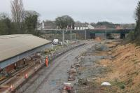 Continuing station refurbishment work at Poulton on 10th February 2018. A large gantry has appeared on the east end of the island platform and the vegetation clearance has made good progress. [See image 59296] for a May 2017 view from the same spot.    <br><br>[Mark Bartlett&nbsp;10/02/2018]