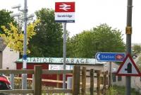 <I>'Glad we kept the name?'</I> The Station Garage on Station Road, alongside the entrance to Gorebridge station. Seen here in May 2016, some 47 years after the station closed and 8 months after it reopened.<br><br>[John Furnevel&nbsp;26/05/2016]