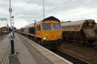 GBRF 66738 passes Doncaster with a northbound biomass train on 12 March 2013<br><br>[John McIntyre&nbsp;12/03/2013]