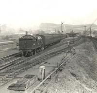 V1 67616 leaving Dumbarton Central on 20 April 1957 with a train for Helensburgh. The view is from the signal box and the line on the right dropped down to serve the Leven Engine Works.<br><br>[G H Robin collection by courtesy of the Mitchell Library, Glasgow&nbsp;20/04/1957]