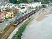A Virgin CrossCountry service heads west after leaving Dawlish on Saturday 29 June 2002.<br><br>[Ian Dinmore&nbsp;29/06/2002]
