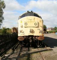 Scene on the Eden Valley Railway at Warcop on 25 September 2010. 37250 (formerly D6950), withdrawn from Eastfield at the end of 2007, stands in the sidings. (The locomotive was in 'Transrail' livery at this time.) <br><br>[John Furnevel&nbsp;25/09/2010]