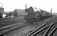 A3 Pacific 60065 <I>Knight of Thistle</I> arriving at Doncaster from the south on 1 September 1962 with a train for Edinburgh. For the full SP [See image 22899]<br><br>[K A Gray&nbsp;01/09/1962]