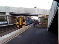 A Dunblane to Edinburgh service calls at Polmont for the 1300 departure on<br> 29 November 2017. These services are due to be electrified, but experience with<br> the EGML electrification makes it unwise to specify a date...<br> <br> <br><br>[David Panton&nbsp;29/11/2017]