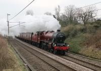 Despite the severe weather closing many lines in the UK <I>The Pennine Limited</I> steam excursion from Carnforth to Sheffield ran on 3rd March 2018. However, instead of the anticipated double-headed 45407 and 45690, the train was entrusted to 45699 <I>Galatea</I> with diesel support on the rear. Seen here passing the St. Heliers footbridge on the outward leg.  <br><br>[Mark Bartlett&nbsp;03/03/2018]