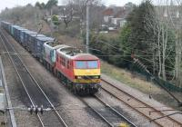 DBS 90018 and 90024 work a Mossend to Daventry intermodal service towards Preston passing the Oxheys Loop on 22nd January 2018. This was once a four track line from Preston but now just two tracks suffice plus this Up Loop and the Down Loop at Barton & Broughton. <br><br>[Mark Bartlett&nbsp;22/01/2018]