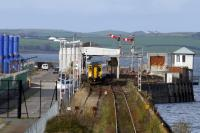 The 13.04hrs for Kilmarnock emerges from the trainshed at Stranraer Harbour on 29th October 2017.<br> <br><br>[Colin Miller&nbsp;29/10/2017]