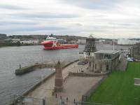 A bird's eye view from Aberdeen Harbour Board's Marine Operations Centre North at Footdee ('Fittie') on 4th October 2017.<br> <br> <br><br>[David Spaven 05/11/2017]