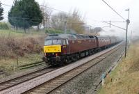 After many years of open storage with West Coast Railways [See image 33916] 47772 has joined the main line fleet and been named <I>Carnforth TMD</I>. It is seen at Barton & Broughton, on the rear of <I>The Pennine Limited</I>, supporting 45699 <I>Galatea</I> on a Carnforth to Sheffield tour on 3rd March 2018. <br><br>[Mark Bartlett&nbsp;03/03/2018]