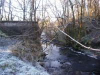 The Giffen - Kilbirnie branch of the Lanarkshire and Ayrshire Railway is completely obliterated beyond the abutments of this difficult to access bridge crossing the Powgree Burn just to the west of Brackenhills station.<br> <br> The Kilbirnie Branch was built using part of the solum of the former Barkip Railway, which had been associated with the Glengarnock Iron Works.<br><br>[Douglas Blades&nbsp;08/01/2018]