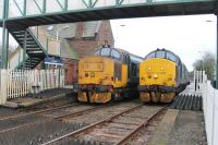 1550hrs at St Bees station was definitely the place to be on a weekday, as this was when the two Class 37 passenger sets met and exchanged single line tokens. This was the scene on 8th March 2018 with 37402 heading for Barrow and 37405 for Carlisle. That same day Northern announced that a Class 68 would after all take up one of the diagrams so this scene will probably become a thing of the past. <br><br>[Mark Bartlett&nbsp;08/03/2018]