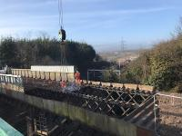 The Muirhead Road overbridge deck is cut into sections before being lifted on to waiting lorries. <br><br>[Colin McDonald&nbsp;11/03/2018]