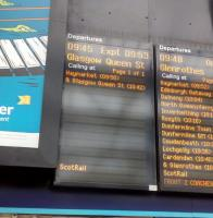 Station Skipping: It's hard to depict these, but here's a photo of the departure board at Waverley showing a GQS train skipping Falkirk High, Linlithgow and Polmont.<br><br>[David Panton&nbsp;04/02/2017]