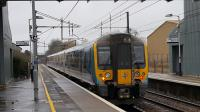 The 1139hrs TPE service from Manchester Airport to Glasgow Central pulls away from Lockerbie on Thursday 8th February 2018.<br> <br> <br><br>[David Prescott&nbsp;08/02/2018]