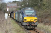 68018 <I>Vigilant</I> brings up the rear of a Barrow to Carlisle passenger service as it pulls away from Corkickle and enters the single bore Whitehaven Tunnel on 13th March 2018, the second day of Class 68 operation on some of these trains. <br><br>[Mark Bartlett&nbsp;13/03/2018]