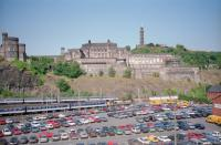 An east end view of Waverley in the summer of 1993 with Dutch Livery 37, a North Berwick train and the Calton Hill in the background.<br><br>[Beth Crawford&nbsp;//1993]
