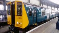 Freshly repainted into BR blue/grey 313201 is at Brighton platform 8 about to work the 1140 service to Seaford today 3rd January 2018.<br> <br> Originally the doors would also have been half blue/grey but to comply with prm-tsi specification had to be just one light colour!<br> <br> Sadly, the BR blue era hasn't been replicated inside.<br><br>[Caleb Abbott&nbsp;03/01/2018]