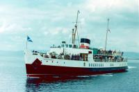 An image of 'Southsea's sister ship 'Shanklin' renamed as 'Prince Ivanhoe'. She is approaching Largs in the early summer of 1981. Purchased from Sealink by a company connected to the Waverley operation and operated by Waverley Excursions she was brought to Glasgow on the 21st of November 1980, refurbished and renamed for April 1981. 1981 was her only season, for on 3rd August while under the command of  a relief master, she grounded in Port Eynon Bay in the Bristol Channel and became a total loss. All passengers were safely evacuated. By a year later she was a pile of unrecognisable scrap steel.<br><br>[Colin Miller&nbsp;11/03/2018]