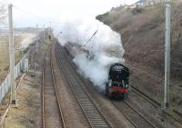 <I>The Salopian Express</I> on 21st March 2018 was originally set to be Jubilee hauled from Crewe but 35018 <I>British India Line</I> was turned out and took the train from Carnforth. This was the first revenue earning run for the Merchant Navy Pacific since restoration and it is seen here passing Hest Bank wreathed in steam. I believe the livery is still BR Green! <br><br>[Mark Bartlett&nbsp;21/03/2018]