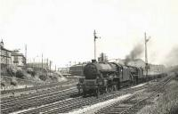 Jubilee 45730 <I>Ocean</I> pilots Black 5 44668 on a train through Strathbungo Junction on 26 July 1955.  <br><br>[G H Robin collection by courtesy of the Mitchell Library, Glasgow&nbsp;26/07/1955]
