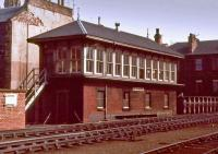 The signal box at Leith Central in 1971, by which time the station was a diesel depot. The box had closed in 1966 and was probably in use as a bothy.<br><br>[Bill Roberton&nbsp;//1971]