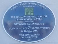 A new plaque has been unveiled at Corrour on the 19th of March. It commemorates the presentation of an award by the Railway Heritage Trust to Network Rail for the conversion of Corrour station and signal box. The building <a target=external href=https://www.corrour.co.uk/>now offers accommodation</a>.<br><br>[John Yellowlees&nbsp;19/03/2018]