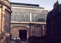 The station entrance, reduced in status to serve the diesel depot. This was the Crown Place carriage entry seen from the west. The entry was just off Leith Walk.<br><br>[Bill Roberton&nbsp;//1971]