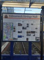 A new Heritage Walk information board behind the bay platform buffers at Kilmarnock station in January 2018.<br> <br><br>[John Yellowlees&nbsp;27/01/2018]