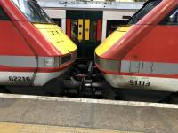 The unusual sight of a Class 91 and a DVT coupled nose to nose at Kings Cross on 2nd January 2018. The Class 91 had just brought the train in from the north on 2nd January 2018, presumably due to a failure. <br> <br><br>[Duncan Ross&nbsp;02/01/2018]