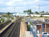 Looking north over Poole station during a quiet period on 31 May 2002. Poole stadium stands in the background.<br><br>[Ian Dinmore&nbsp;03/05/2002]