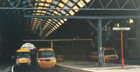 Among the line up of HSTs in September 1988, 89001 was the only AC loco in Kings Cross. After many months of testing and a visit to the Hamburg IVA in May and June it entered service in Summer 1988.<br><br>[Charlie Niven&nbsp;01/09/1988]
