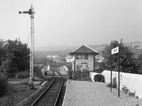 Looking west along the platform at Banavie to the signal box and swing bridge. By this date the West Highland Extension style station building was gone.<br><br>[Bill Roberton&nbsp;//1985]