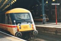 The unique prototype Brush loco 89001 leaves Kings Cross hauling a Leeds service on 1st September 1988 in its original, Intercity Executive, livery.  OHLE was completed as far as West Yorkshire but this was the only AC loco working trains until March 1989 when the Class 91 fleet was introduced. It was later named <I> Avocet </I> and repainted in Intercity Swallow livery to fit in with the new Mark IV coaching stock. <br><br>[Charlie Niven&nbsp;01/09/1988]