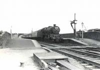 Jubilee 4-6-0 no 45673 <I>Keppel</I> runs north through New Cumnock on 29 July 1961 at the head of a Birmingham - Glasgow express. <br><br>[G H Robin collection by courtesy of the Mitchell Library, Glasgow&nbsp;29/07/1961]
